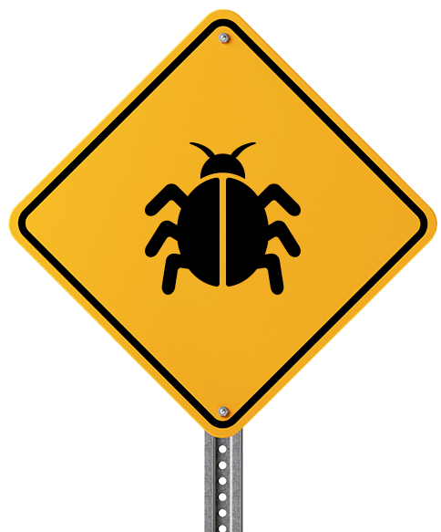 An illustration representing a warning sign for bug infestation